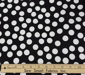 White-Polka-Dots-on-Black-Cotton-Fabric-58-034-W-3-yd-piece-Can-CTO