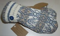 Sweater Mittens Ivory Blue Tan Fleece Lined Recycled Valley View Farms