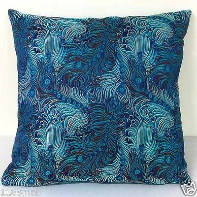 cushion cover blue dull silver dancing bird feather custom made, Chinese brocade