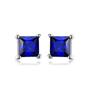 4mm-Stunning-Square-Deep-Blue-Sapphire-Solid-Sterling-Silver-Stud-Earrings-Gift