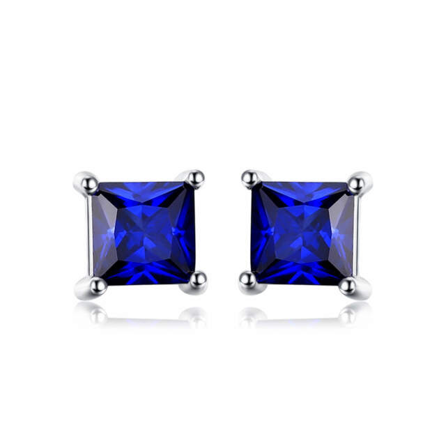4mm Stunning Square Deep Blue Sapphire Solid Sterling Silver Stud Earrings Gift