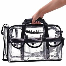 SHANY Cosmetics Clear Makeup Bag Pro Mua Round Bag with Shoulder Strap Large
