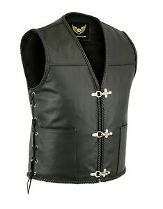 New Mens Real Leather Fish Hook Waistcoat Buckle Side Lace Biker Motorcycle Vest