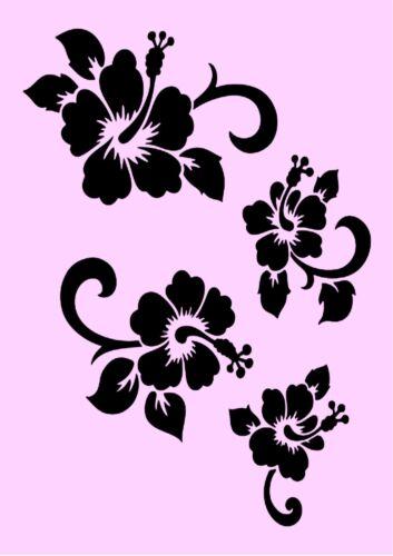 494 Möbel usw. ** Nr. Schablone** Hibiskus-Blüten  **A4**für Stoffe