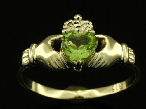 R148 Genuine 9ct or 18K Gold Natural Peridot Claddagh Ring Friendship Love