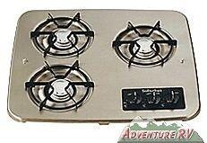 Suburban RV Camper Trailer Drop-In Propane 3-Burner Black Cooktop Stove 2938ABK