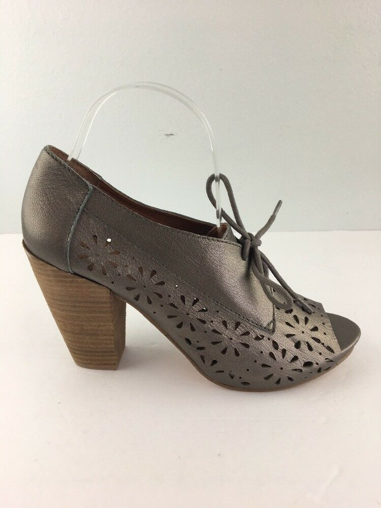 Lucky Brand Damenschuhe Booties Schuhes 8 Pewter Leder LK Peony Open Toe Laser Cut