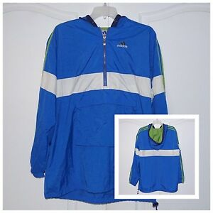 Details about Vintage Adidas 90's Blue Nylon Windbreaker Hooded Pullover Jacket Size Large L