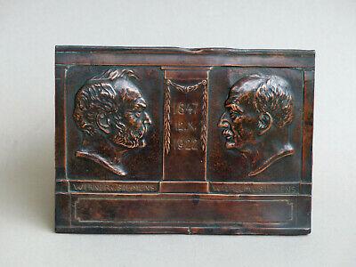 Einseitige Kupferplakette Siemens 75 Jähriges Bestehen Siemens Sign. Lobach