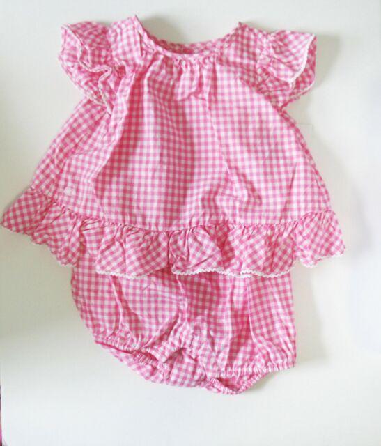 Ralph Lauren Baby Girls Polka-Dot-Print Dress with Bloomer Size 3M Pink Multi