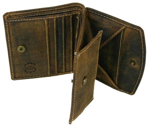 Mano sottile portafoglio cucita da rustikalem antico-PELLE-con grande Münzfach