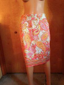 6 Dress noleggio paisley cotone arancione Club di Gonna S con Pink Nwt Gonna in dritta PHn7qw