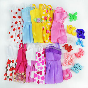20-Items-10Pcs-Wedding-Fashion-Gown-Dresses-amp-Clothes-10-Shoes-For-Barbie-Doll-H