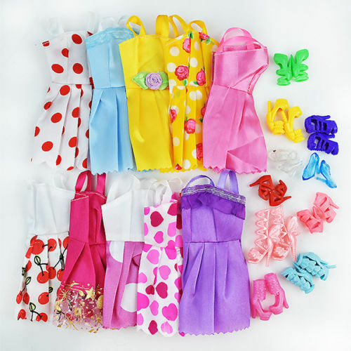 20 Items 10Pcs Wedding Fashion Gown Dresses & Clothes 10 Shoes For  Doll H
