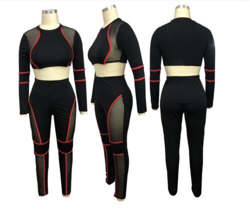 Pants Jumpsuit JK9 Women Mesh Insert Red Striped 2 PC Set Long Sleeve Crop Top