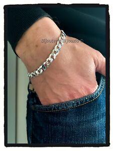 Bracelet-Gourmette-diamantee-Maille-Plate-8MM-X-21-CM-En-Argent-Massif-925-1000