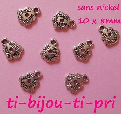 """LOT 12 PENDENTIFS perles breloques ARGENTE /""""MADE WITH LOVE/"""" 11x9mm SANS NICKEL"""