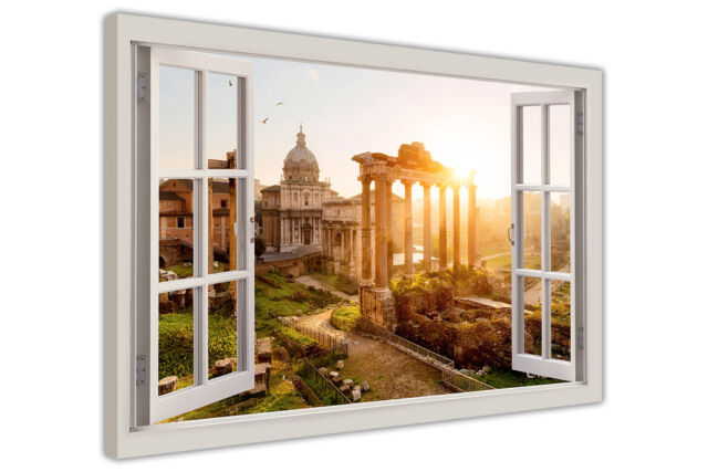 ANCIENT ROME WINDOW BAY EFFECT FRAMED PRINTS CANVAS WALL ART PICTURES HOME DECO