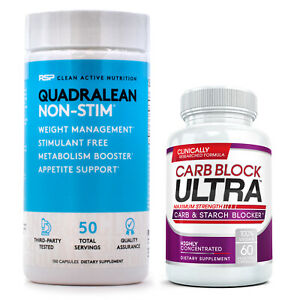 RSP Nutrition Quadralean 2.0 + Carb Block Ultra Fat Fighting Weight Loss Duo
