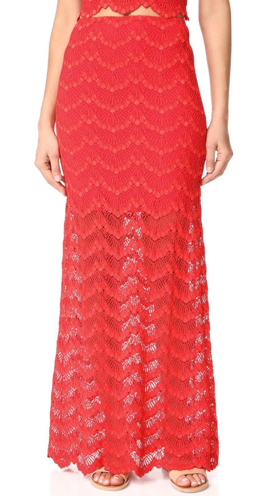 NWT, Nightcap Mariposa Lace Maxi Skirt Medium Nightcap Size 3 Red Guava, New