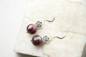 Tourmaline-Red-Natural-10mm-Ball-Gemstone-925-Sterling-Silver-Earrings-Flower