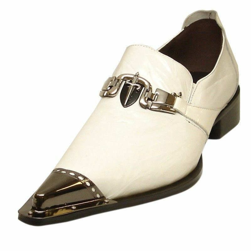 White Fiesso Men Leather Metal Toe Point Sword Design Dress Casual Slip On shoes