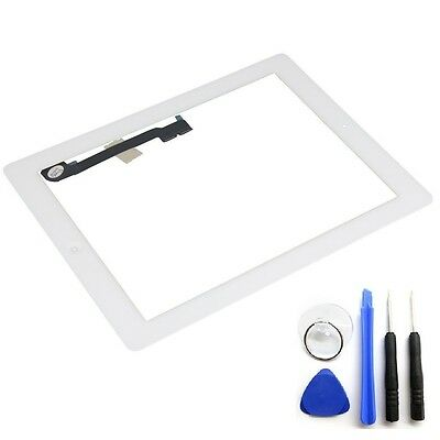 White Glass Touch Screen Digitizer W/ Home Button Assembly for iPad 3 4 + Tools