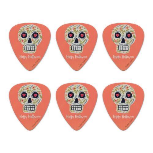 Set of 6 Happy Halloween Fun Floral Skull Novelty Guitar Picks Medium Gauge