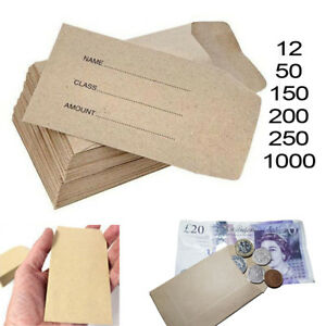 Details About Small Brown Envelopes 100x62mm Dinner Money Wages Coin Tuck Pocket Seeds Beads