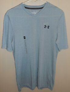 Under-Armour-Threadborne-Short-Sleeve-Shirt-Mens-Small-Grey-New-Loose-V-Neck
