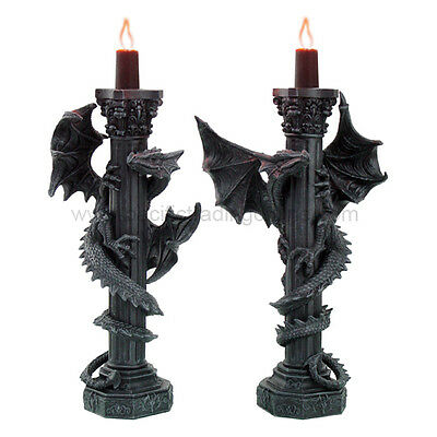 ANCIENT FEARSOME DRAGON PILLAR COLUMN CANDLE HOLDERS FIGURINE STATUE RESIN