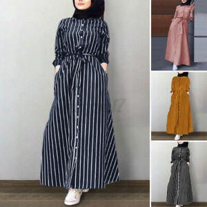 Details about ZANZEA UK Women Long Sleeve Collared Button Down Striped Kaftan Maxi Shirt Dress