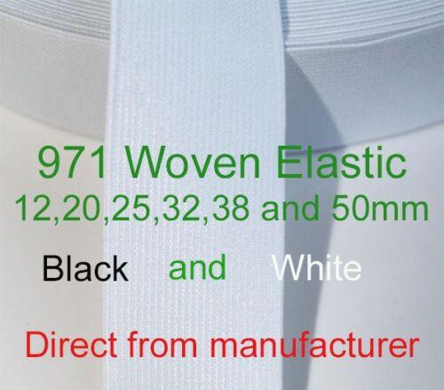 *BULK WOVEN ELASTIC ITEM 971 12MM 20MM 25MM 32MM 38MM 50MM DIRECT MANUFACTURER