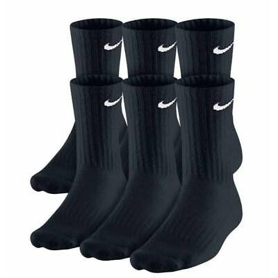$49 NIKE Mens 6 PAIR PACK Athletic CREW SOCKS Black Cushioned Cotton SHOE 8-12 L