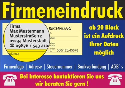RECHNUNG 1 STÜCK,DIN A5,SD RECHNUNGSBLOCK f Kleinunternehmer 2x50 BLATT