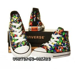BABY-Boy-Girl-CONVERSE-All-Star-RUBIKS-CUBE-HI-TOP-Trainers-Boots-SIZE-18-UK-2
