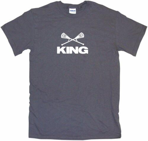 Crossed Lacrosse Sticks King Mens Tee Shirt Pick Size Color Small-6XL