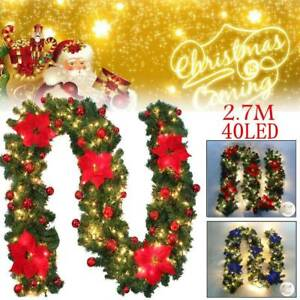 image is loading 9ft decorated 40 led garland christmas decor wreath