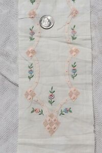 Small Scale Swiss Antique (1920s) Hand Embroidered Rose Embroidery Sample~Dolls*