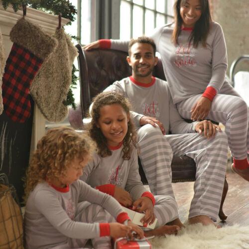Family Matching Pajamas Set Nightwear Sleepwear Kid Adult Winter Striped Pyjamas