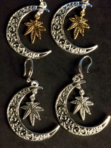 Details about  /Celestial Moon Earrings With Gold Or Silver Marijuana,Pot Leaf Charm