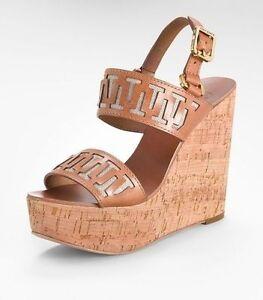 5ac8ef234a6 Tory Burch Regan Cork Wedge Platform Sandal Size US 10.5 Beige NWB ...