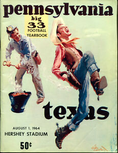 1964 Big 33 Program Pennsylvania v Texas 8/1/64 Hershey Ex 18817