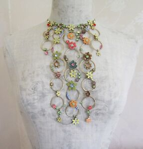 Danish-Design-PILGRIM-Necklace-ENCHANTED-FLOWER-Lily-Pastels-Vintage-Gold-BNWT