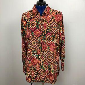 Susan-Graver-Women-039-s-Size-L-Long-Sleeve-Print-Button-Down-Multicolor-Shirt-Top