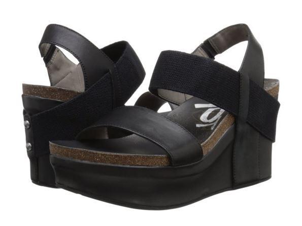 OTBT Women's Bushnell Platform Wedge 3.5 inch Heel Leather Leather Leather Sandal - Black c453b5