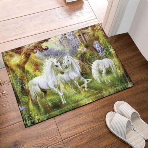 Magic unicorn Absorbent Soft Flannel Bathroom Floor Shower Mat Rug Non-slip