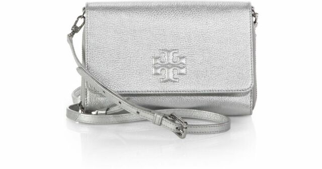 a549b4f9314c NWOT Tory Burch Thea Metallic Wallet Cross body Chain Bag Silver Removable  Strap
