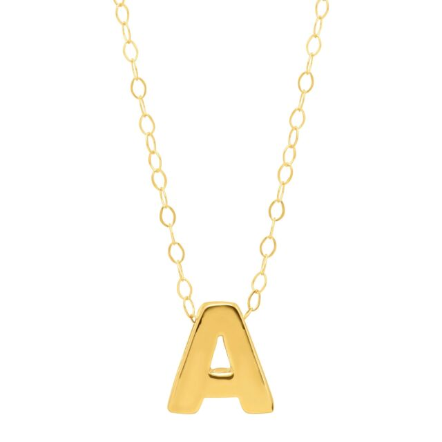 """Teeny Tiny 'A' Initial Pendant in 10K Gold, 17"""""""