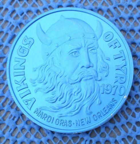 1973 VIKINGS of TYR brushed blue aluminum 10 gauge KING Mardi Gras Doubloon